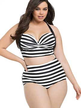 Ericdress Stripe High-Waist Plus Size Swimwear