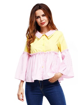 Ericdress Lapel Color Block Bell Sleeve Blouse