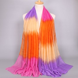 Ericdress Voile color Stripe Muslim Cotton Scarf for Women