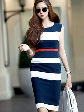 Ericdress Sleeveless Knee-Length Color Block Bodycon Dress