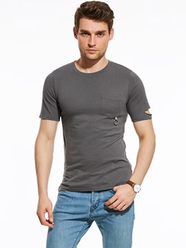 Ericdress Plain Pocket Vogue Patched Holes Slim Men's T-Shirt
