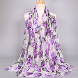 Ericdress National Style Rose Printed Voile Women's Scarf