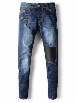 Ericdress Denim Straight Vogue Patched Casual Men's Jeans