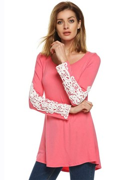Ericdress Mid-Length Slim Lace T-shirt