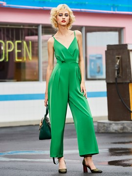 High-Waist Plain Wide Legs Women's Jumpsuit