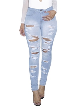 Ericdress High-Waist Hole Washable Jeans