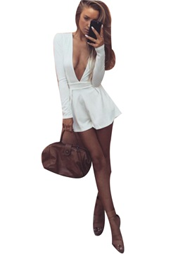 Ericdress Deep V-Neck Plain White Jumpsuits Pants