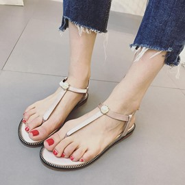 Ericdress Strappy Plain Flat Sandals with Buckle