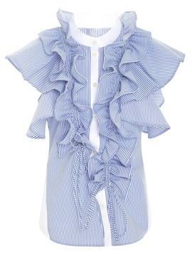 Ericdress Stripe Button Patchwork Ruffle Sleeve Blouse