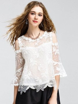 Ericdress Hollow Embroidery Flare Sleeve T-shirt