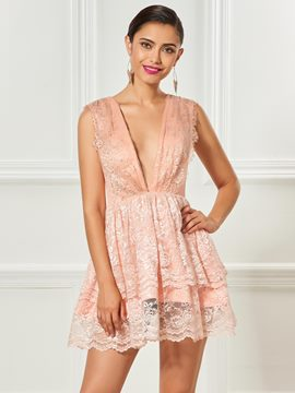 Ericdress Deep V Neck Lace Short /Mini Cocktail Dress