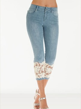 Ericdress Patchwork Lace Jeans