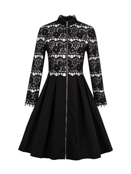 Ericdress Lace Patchwork Zipper A Line Dress