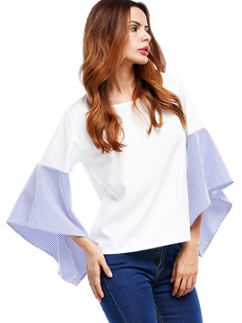 Ericdress Stripe Patchwork Bell Sleeve T-shirt