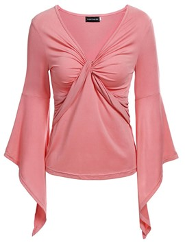 Ericdress Asymmetric V-Neck Bell Sleeve T-shirt