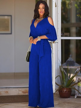 Ericdress Full Length Plain Slim Cold Shoulder Women's Jumpsuit