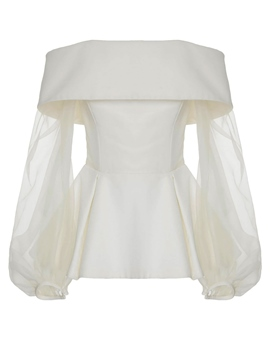 Ericdress Slash Neck Mesh Lantern Sleeve Blouse