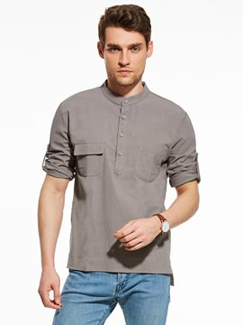 Ericdress Plain Pocket Patched Button Crew Neck Men's Shirt