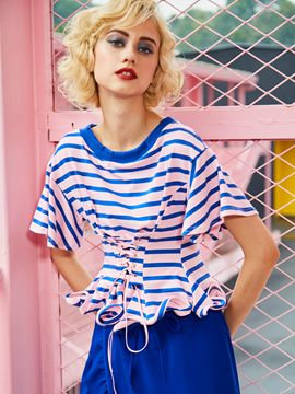 Ericdress Round Neck Color Block Stripe Women's T-shirt