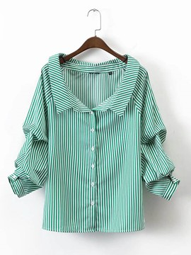 Ericdress Stripe Loose Lapel Blouse
