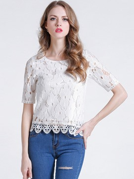Ericdress Slim Lace Hollow Blouse