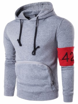 Ericdress Zip Big Pocket Number Pullover Men's Hoodie
