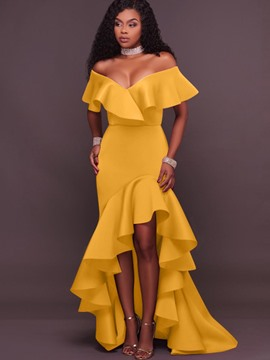 Ericdress Ruffles Backless Asymmetrical Maxi Dress