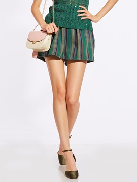 Loose Color Block Stripe Women's Shorts