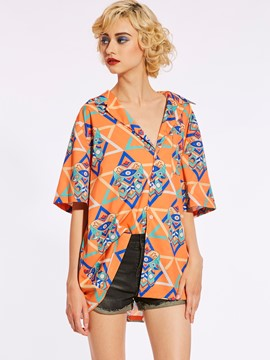 Ericdress Loose Color Block Geometric Pattern Women's Blouse