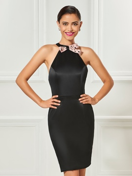 ericdress gaine perlée licol courte robe de cocktail