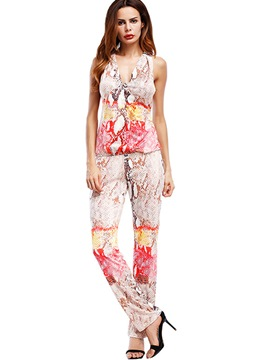 Ericdress V-Neck Backless Print Jumpsuits Pants