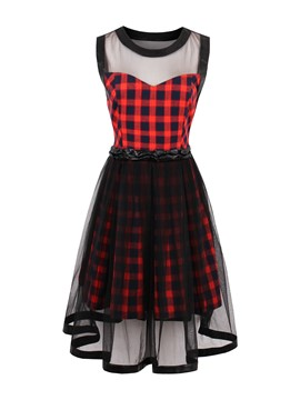 Ericdress Mesh Plaid Patchwork A Line Dress