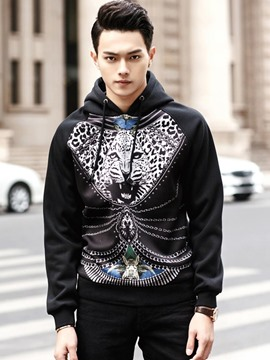 Ericdress Leopard Unique Print Casual Men's Hoodie