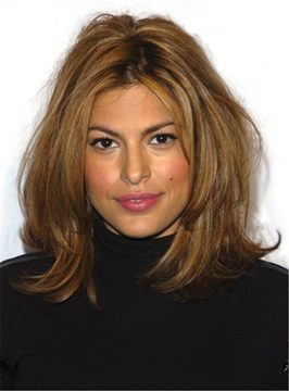 Ericdress Eva Mendes Straight Layered Synthetic Hair Mid-Length African American Wigs Lace Front 14 Inches