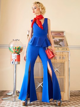 Patchwork Ruffles Bellbottoms Jumpsuits Pants
