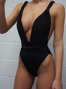 Ericdress Plain Deep V-Neck Pleated Monokini