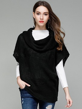 Ericdress Loose Heap Collar Batwing Sleeve Knitwear