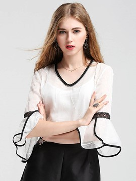 Ericdress V-Neck Embroidery Bell Sleeve Blouse