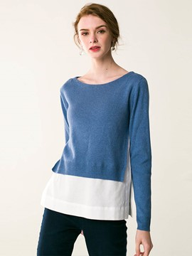 Ericdress Pullover Color Block Patchwork Knitwear