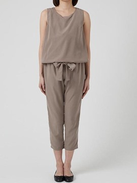 Plain Tank Top And Ankle Length Pants Suit