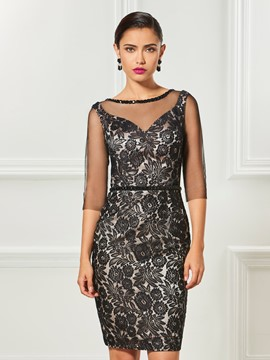 Ericdress Sheath Half Sleeve Lace Knee Length Cocktail Dress