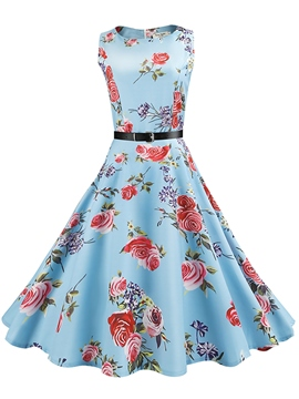 Ericdress Print Expansion High-Waist A Line Dress