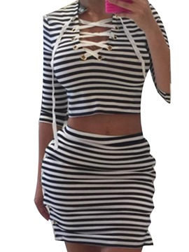 Ericdress Stripe Lace-Up Leisure Suits