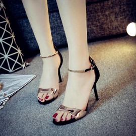 Sequins Line-Style Buckle Heel Sandals