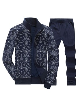 Ericdress Zip Vogue Print Sports Casual Men's Suit