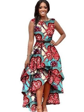 Ericdress Print Asymmetrical Layered Maxi Dress