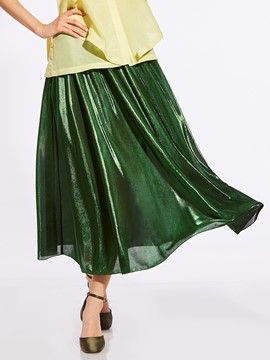 Mid-Calf High-Waist Plain Pleated Women's Skirt