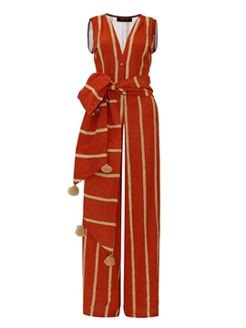 Ericdress Color Block Stripe Wide Legs Jumpsuits Pants