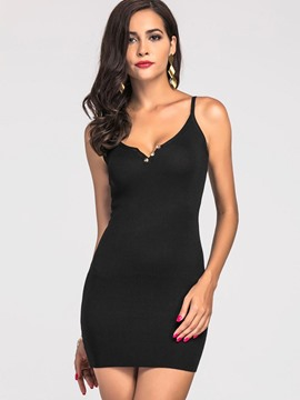 Ericdress Spaghetti Strap V-Neck Backless Bodycon Dress