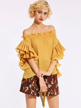 Ericdress Slash Neck Backless Ruffle Sleeve Women's Blouse